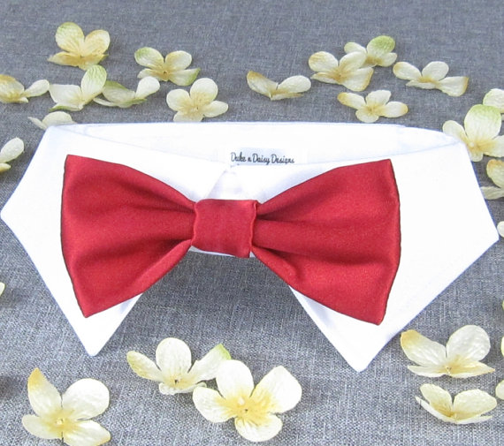 Red Satin Wedding Dog Bowtie Bow Tie Collar Ring Bearer Pets
