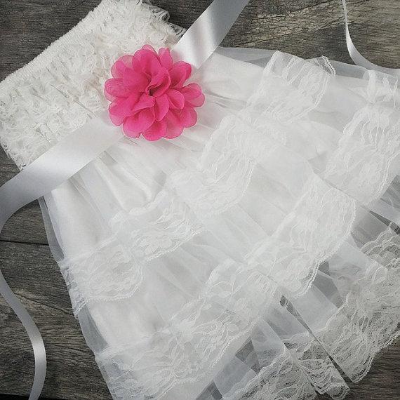زفاف - Girls White Lace Dress // Flower Girl Dresses // Toddler Flower Girl