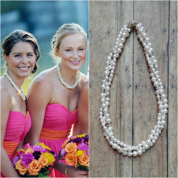 Свадьба - Bridesmaid Pearl Necklace, Pearl Bridesmaid Jewelry Set, Bridal Pearl Necklace, Bridesmaids Necklace, Wedding Pearl Necklace Bridesmaid