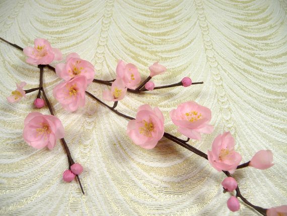 Mariage - Vintage Millinery Cherry Blossom Twig Pink Flowers NOS for Hats Weddings, Floral Arrangements