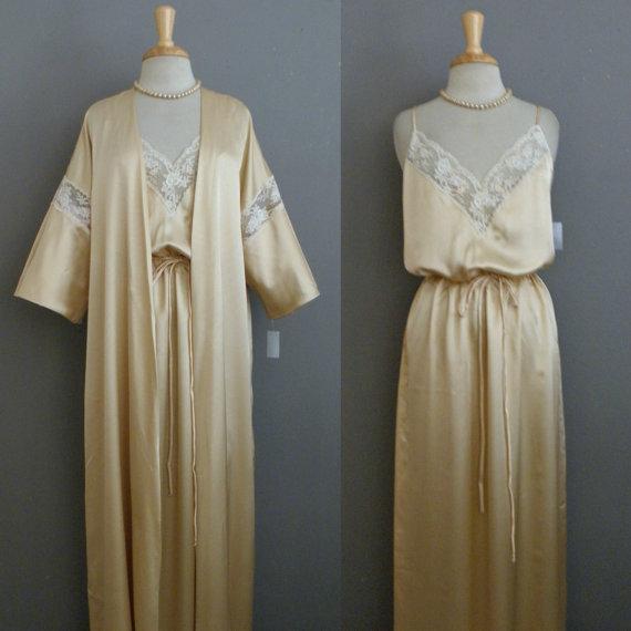 8e3d342ae HUGE SALE NOS Vintage 60s 70s Lucie Ann Peignoir   Matte Beige Gold Sateen  Lace Trim Grecian Gown Nightie Lingerie Set L ggmm