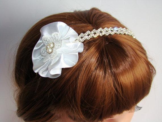 Wedding - Alice Bridal headBand, Alice Band Tiara, Clear Crystal Wedding Headband, Silk Flower Wedding HeadPiece