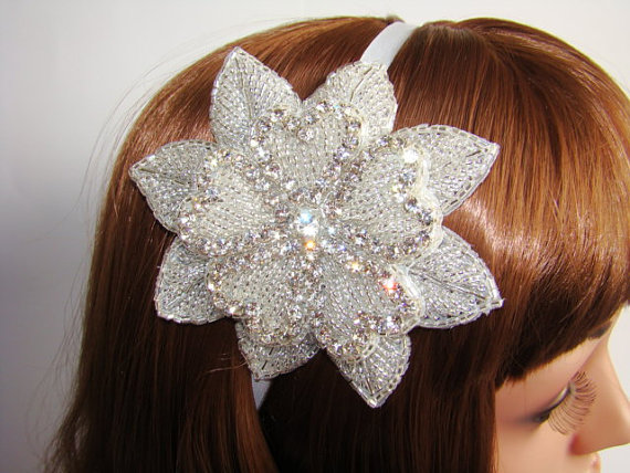 Mariage - Wedding Head Piece, Rhinestone Wedding Headband, Hearts Bridal Headband, Bridal Statement Headband