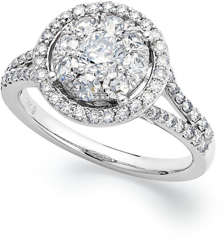 Prestige Unity Circular Diamond Engagement Ring In 14k White Gold 1