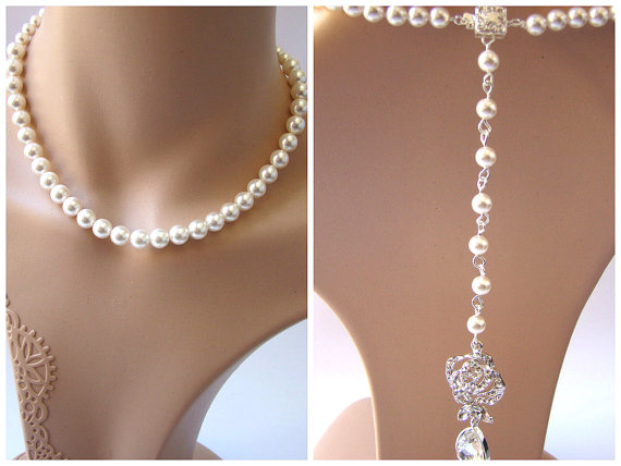 Back drop necklace bridal necklace wedding jewelry crystal necklace