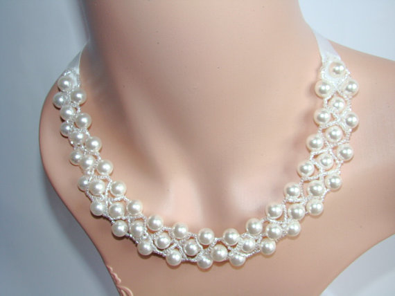 Chunky Necklace Chunky Bridal Necklace Wedding Necklace Cluster