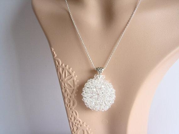 Wedding - Swarovski Crystal Bridal Necklace, Crystal Wedding Jewelry, Medallion Wedding Necklace, Statement Bridal Jewelry, Sterling Silver Necklace