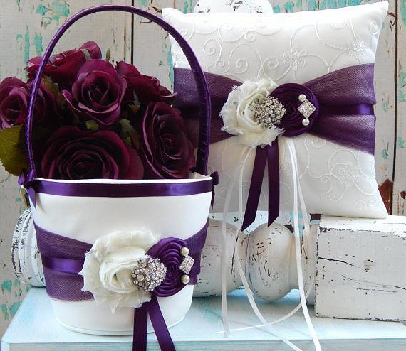 ring bearer pillow flower girl basket plum flower girl basket you design plum ring. Black Bedroom Furniture Sets. Home Design Ideas