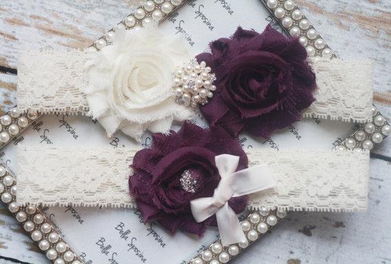 Purple Garter Wedding Set Belt Lace Ivory White Vintage Fall Pearl
