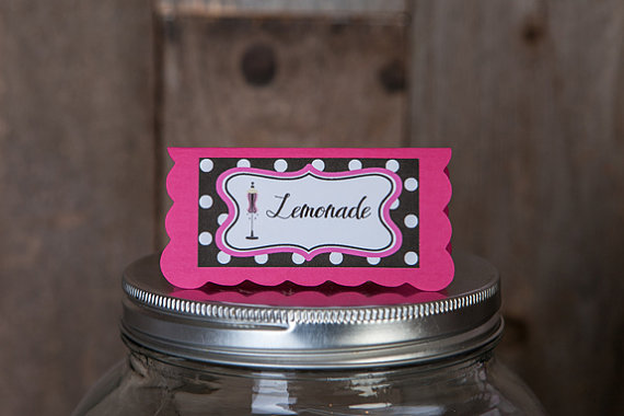 Свадьба - Bridal Shower Food Tents - Menu Cards - Place Cards - Food Signs - Lingerie Shower Decorations - Bachelorette Party in Pink and Black Dots
