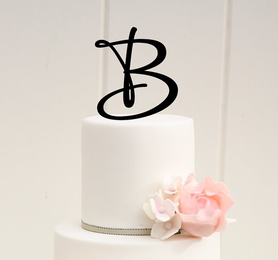 Monogram Wedding Cake Topper - 5.5 Inch Monogram Letter ...