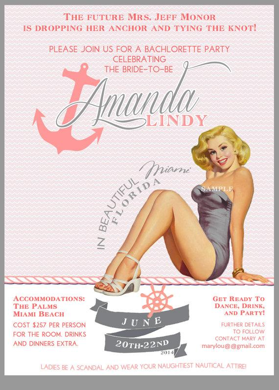 Pink And Gray Nautical Vintage Pin Up Girl Invitation Bachelorette – Vintage Bachelorette Party Invitations