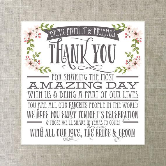 Instant Thank You Place Card Wedding Reception Setting