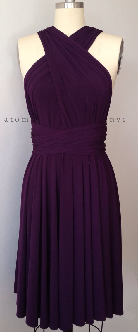 7db72cf26c Dark Purple Grape Eggplant Infinity Dress Convertible Formal Multiway Wrap  Bridesmaid Dress Cocktail Evening Short