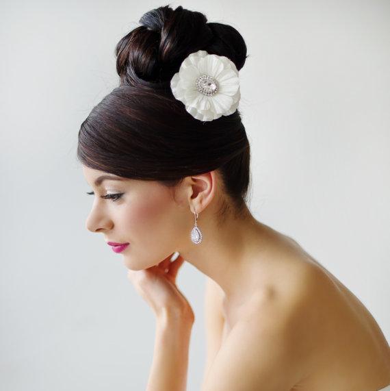 Mariage - Wedding Hair Accessory, Bridal Headpiece, Silk Flower Hair Clip - GEORGETTE