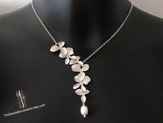 Mariage - SALE 10% OFF: Flower necklace, Asymmetric necklace, Bridal Jewelry, bridesmaid necklace, Wedding Jewelry, Wedding Necklace, lariat necklace