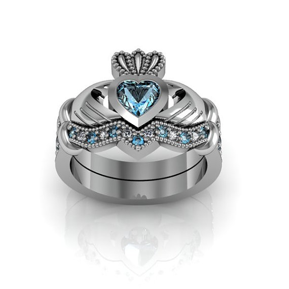 sterling silver blue topaz claddagh love and friendship engagement ring set - Claddagh Wedding Ring Sets