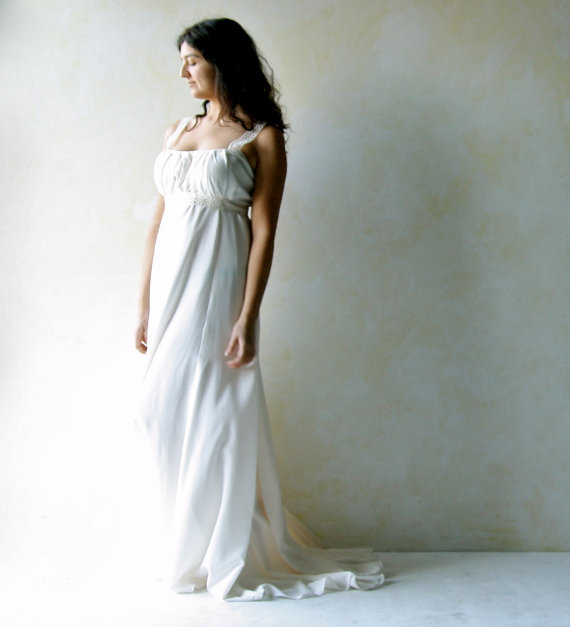 Düğün - Grecian Wedding dress, train wedding dress, Empire wedding gown, Regency wedding dress, Boho wedding dress, goddess wedding dress, silk gown