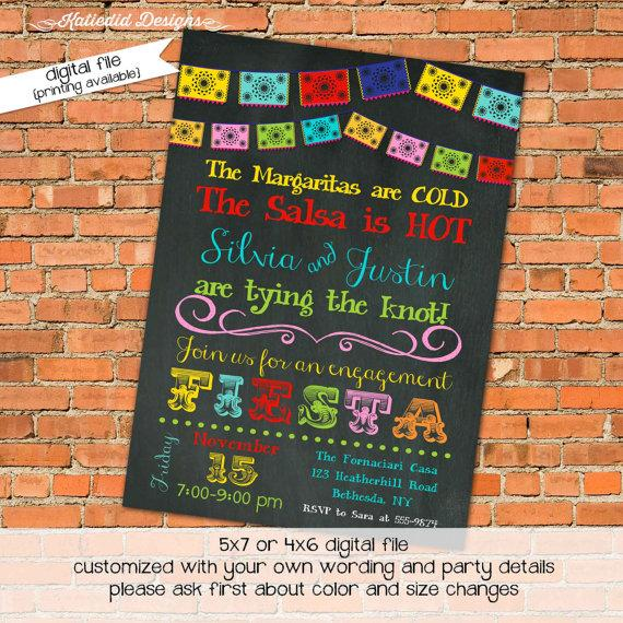 Bridal Shower Invitations Mexican Fiesta Dinner Rehearsal Engagement Party Digital Printable File Item 301 Baby Invite