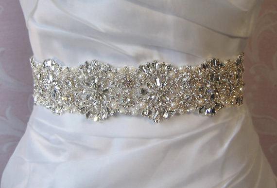 "Mariage - Crystal Rhinestone & Pearl Bridal Sash, Wedding Belt, Ivory Crystal Bridal Sash, 24"" of Rhinestones - AMELIE"