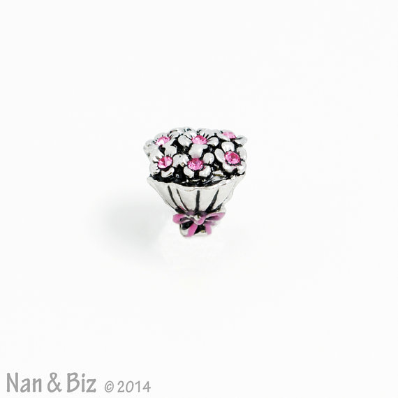 Mariage - Pugster flower bouquet charm, silver flowers with pink crystals, big hole spacer bead, fits all major European charm bracelets, New in 2014