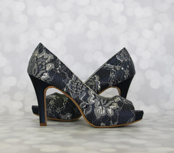 Navy Blue Wedding Shoes Peep Toe Platform With Lace Overlay