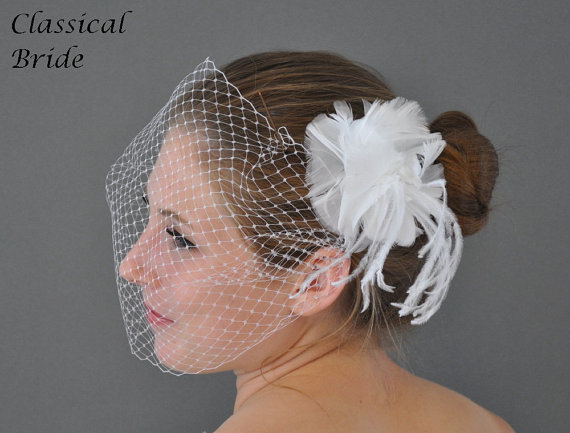 Wedding - Bandeau 901 -- VEIL SET w/ OSTRICH Feather Fascinator Hair Clip & Ivory or White Birdcage Blusher 9 Inch Veil for bridal wedding
