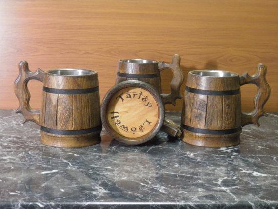 Mariage - Custom engraving, Wooden Beer mug , 0,8 l (27oz) , natural wood, stainless steel inside,groomsmen gift