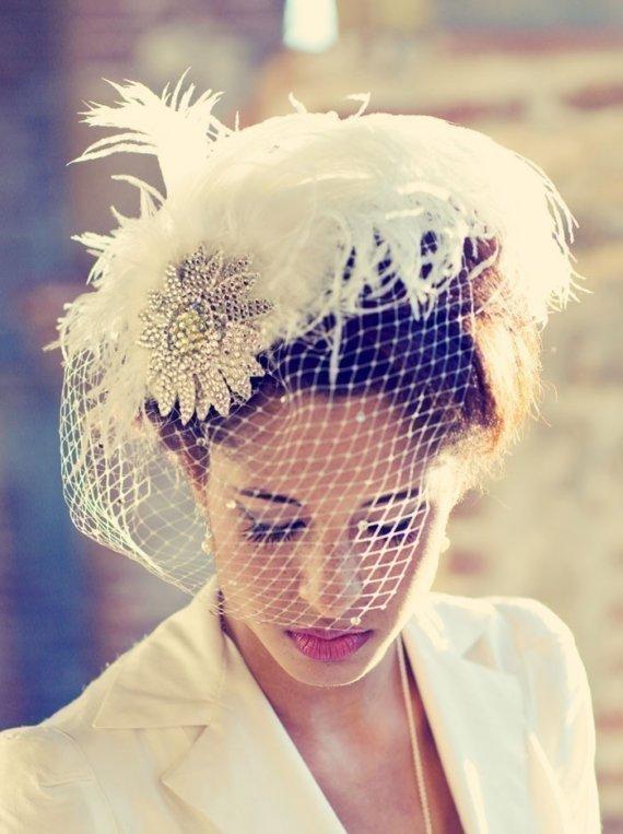 Hochzeit - Birdcage Veil, Feather Fascinator, Bridal Hair Accessory, Head Piece, Wedding Veil, Swarovski Crystal, Flower, Blusher Veil, Ivory White