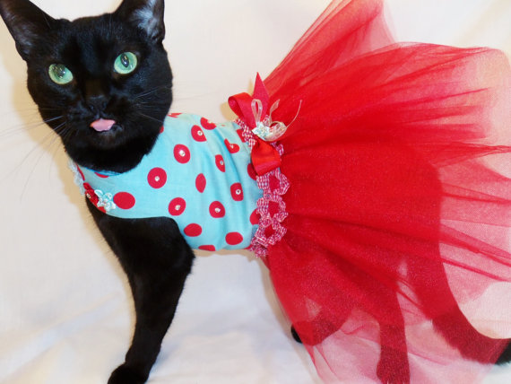 Mariage - Cat Clothes Retro Red and Turquoise Polkadot Tutu Cat Dress with Swarovski Crystals pet clothing cat clothing pet clothes