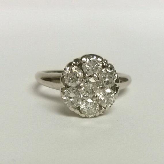Mariage - Size 5.25 Estate 14k White Gold 1ct Diamond Ring Engagement Wedding Anniversary Stunning