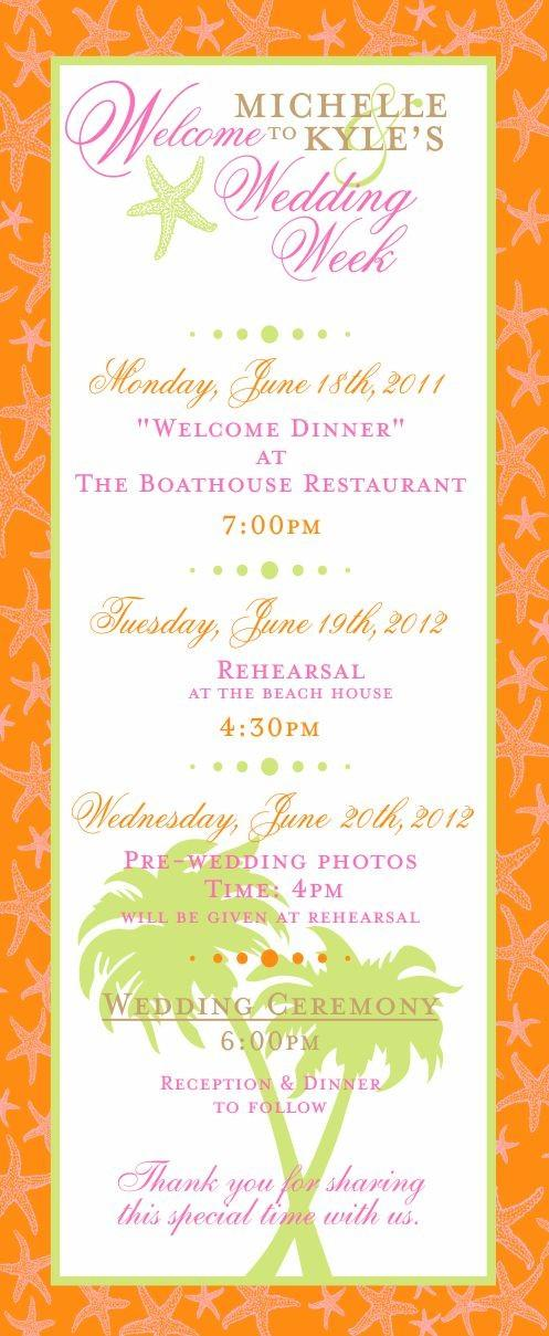 Wedding - Tropical Starfish Wedding Itinerary Cards
