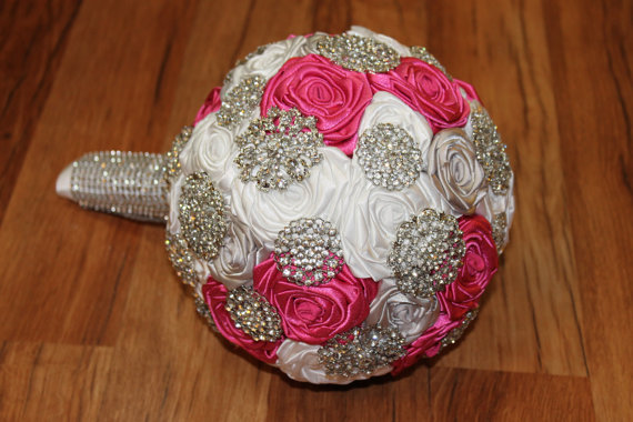 Wedding - Cherry, Silver, & White Brooch Bouquet, Fuchsia, Pink Brooch Bouquet