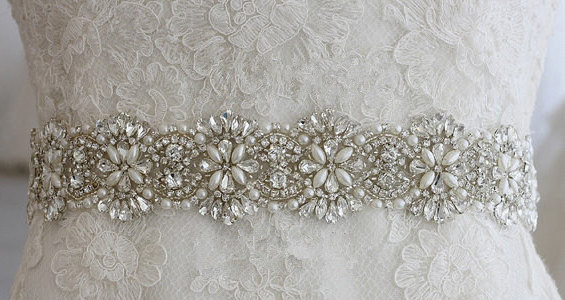 Exclusive Art Deco Austria Rhinestone Crystal Pearl Bridal Sash Beaded Wedding Belt Ivory Champagne Evening Gown Dress Vintage Accessories