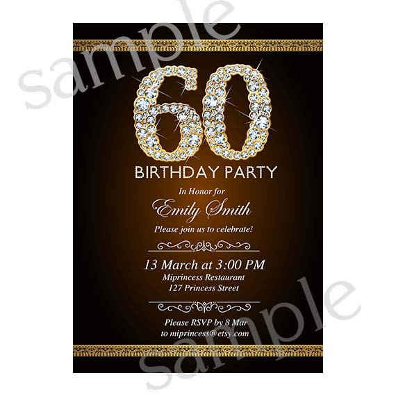 Premade Invitation Card Design 50 60 70 Any Age Gold Glitter Birthday Party Elegant
