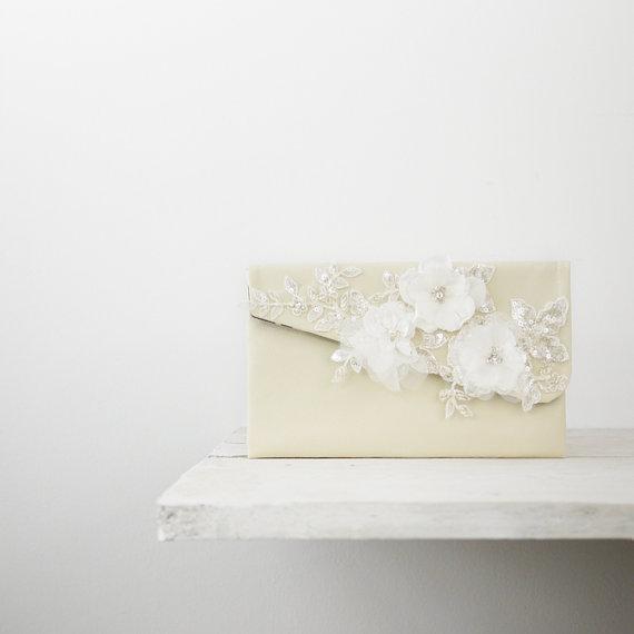 Свадьба - Ivory bridal clutch, Ivory wedding clutch