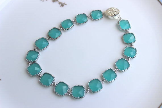 زفاف - Aqua Blue Mint Bracelet Silver Plated - Any Color Available - Bridesmaid Bracelet - Bridal Bracelet - Wedding Jewelry - Bridesmaid Jewelry