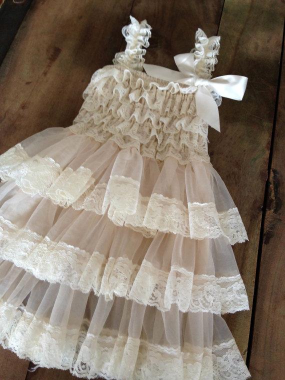 زفاف - Flower Girl Dress - Lace Flower girl dress - Baby Lace Dress - Rustic - Country Flower Girl - Lace Dress - Ivory Lace dress -  Bridesmaid