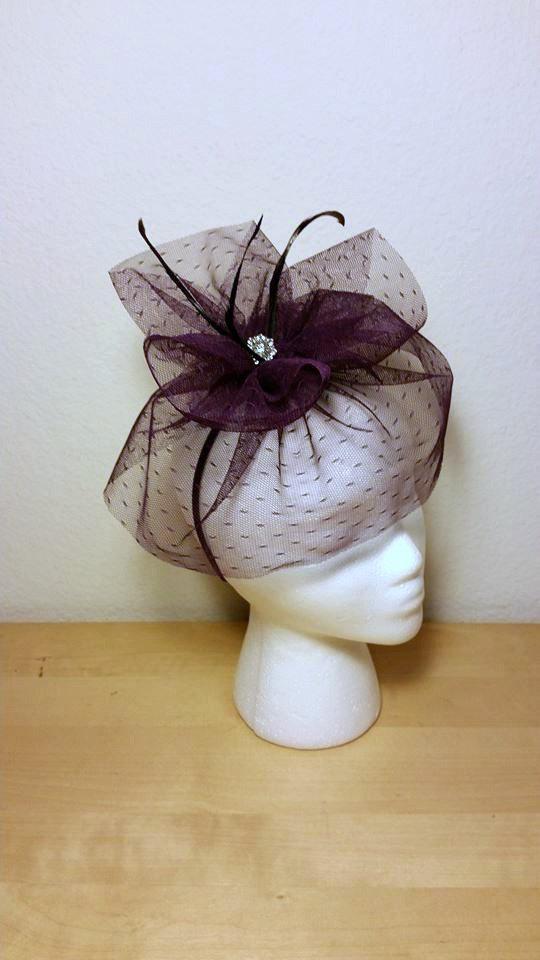 Свадьба - Fascinator Veil, Bridal Fascinator, Veil, Bridal Veil, Purple Wedding, Black Wedding, Wedding Headpiece, Bridal Hairpiece