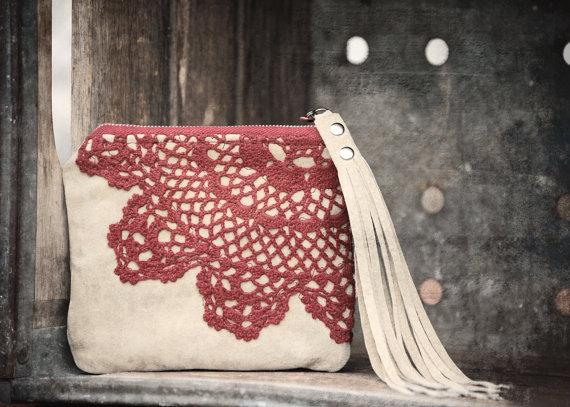 Burning Love Keepsake Mini Clutch Scarlet Garnet Red Crochet Lace