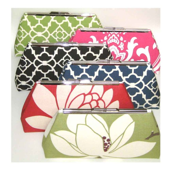 Mariage - Bridesmaids Clutches Wedding Bridal - Colorful Mix - Set of 6 - FREE Custom Silk Labels