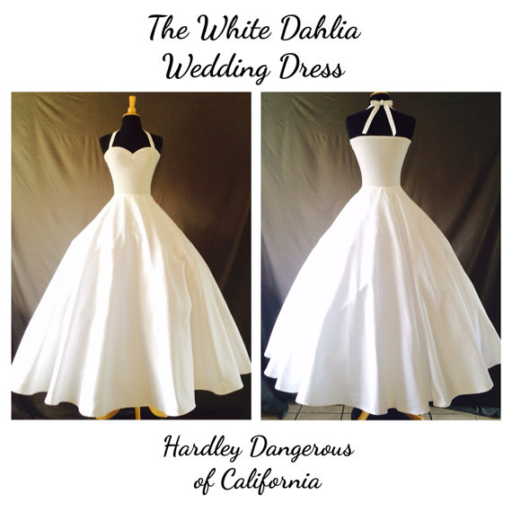 a6695eb318a8 The White Dahlia SATEEN Wedding Dress, Rockabilly 1950s Style Casual Knit  Wedding Pin Up BRIDE, Floor Length