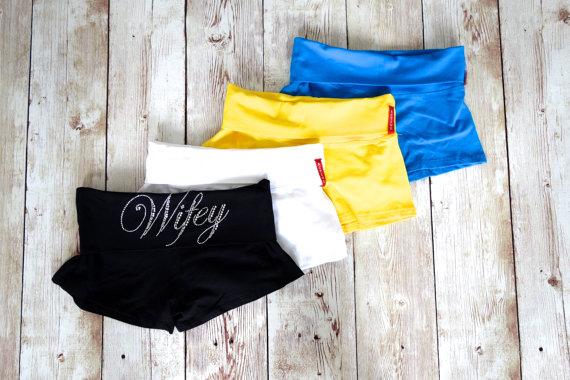 Hochzeit - Yoga Bride Shorts. Rhinestone Wedding Shorts. Honeymoon. Lingerie Booty Short Panties. Wifey Shorts