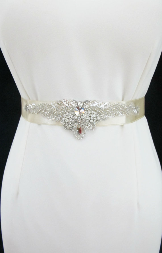 Wedding - Beaded Bridal Wedding Rhinestones Sash Belt with  crystal beads