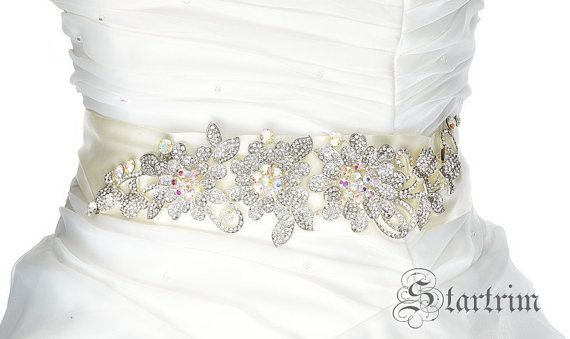 Свадьба - SALE LINDA wedding bridal crystal sash , belt , head piece