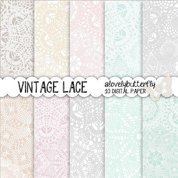 Vintage Lace Digital Paper Wedding Invitation Digital Lace Digital