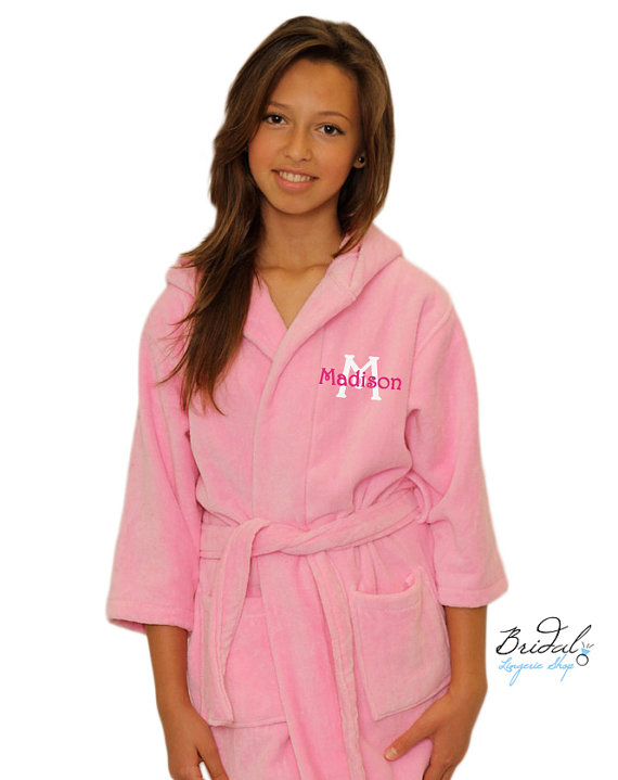 f49320afec Personalized Kids Terry Velour Hooded Robe Monogrammed with Name and  Initial for the flower girl   ring bearer