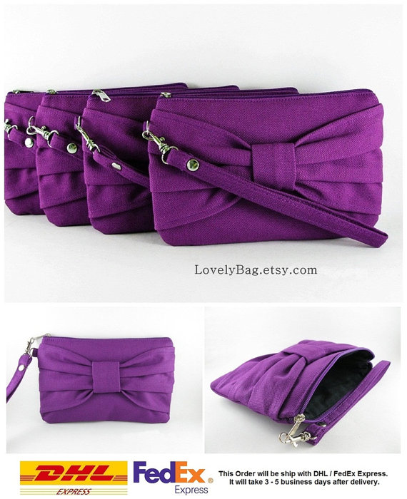 Mariage - SUPER SALE - Set of 7 Eggplant Purple Bow Clutches - Bridal Clutches, Bridesmaid Clutch, Bridesmaid Wristlet, Wedding Gift - Made To Order