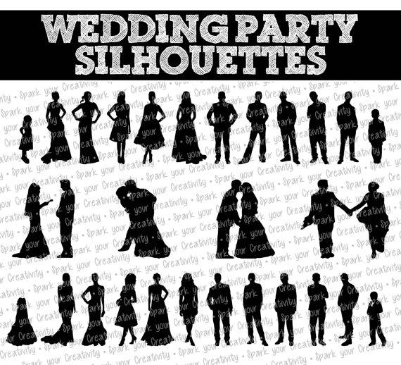 wedding party silhouettes wedding bride bridesmaid groomsman rh weddbook com Silhouettes of People Wedding Party Silhouette Clip Art