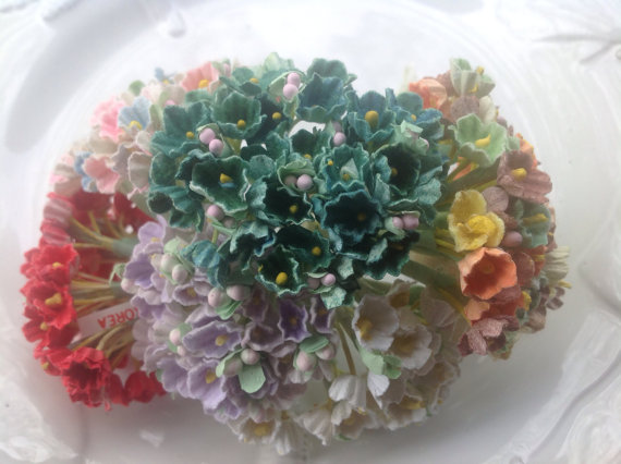 Свадьба - SALE - 6 BOUQUETS WHOLESALE Vintage Millinery Flowers Forget Me Nots   for Weddings - Mothers Day & Easter